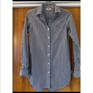 Uniqlo Tops - Uniqlo navy & white striped long button up shirt